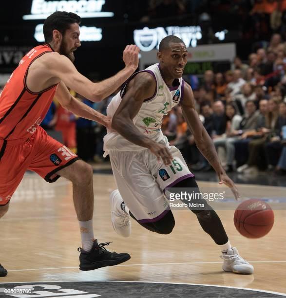 Jamar Smith #15 of Unicaja Malaga in action during the 20162017 7Days Eurocup Finals Leg 3 Valencia Basket v Unicaja Malaga at Pabellon Fuente de San...