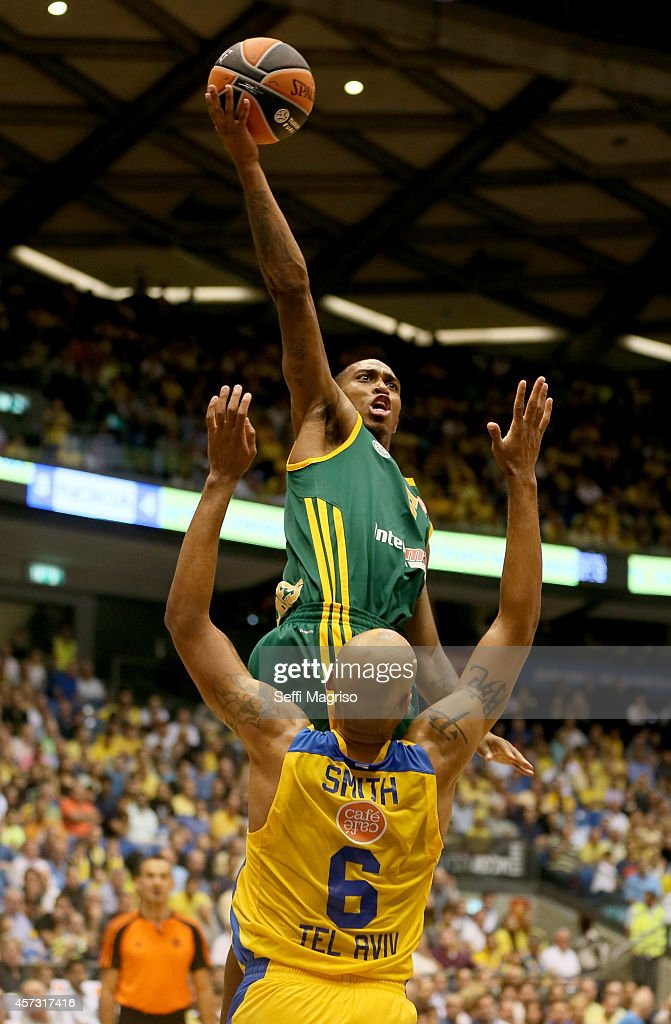 Jamar Smith, #5 of Limoges CSP competes with Devin Smith, #6 of Maccabi Electra Tel Avi in action during the 2014-2015 Turkish Airlines Euroleague Basketball Regular Season Date 1 between Maccabi Electra Tel Aviv v Limoges CSP at Nokia Arena on October 16, 2014 in Tel Aviv, Israel.
