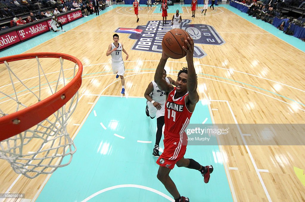 <a gi-track='captionPersonalityLinkClicked' href=/galleries/search?phrase=Jamar+Smith&family=editorial&specificpeople=241388 ng-click='$event.stopPropagation()'>Jamar Smith</a> #14 of the Maine Red Claws shoots the ball against the Reno Big Horns during the 2011 NBA D-League Showcase on January 12, 2011 at the South Padre Island Convention Center in South Padre Island, Texas.