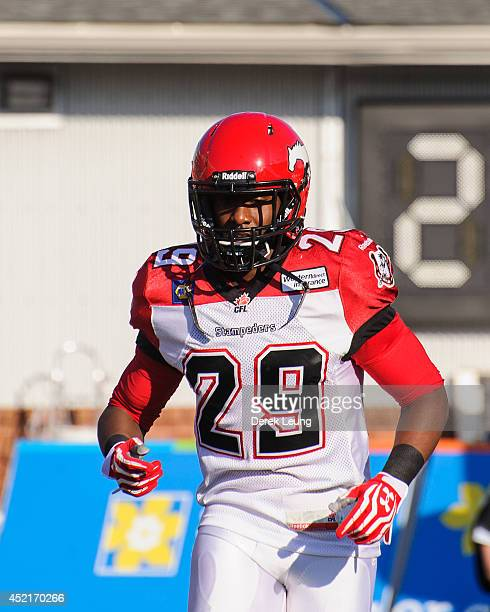 Jamar Wall of the Calgary Stampeders in action against the Winnipeg Blue Bombers during a CFL game at McMahon Stadium on June 14 2014 in Calgary...