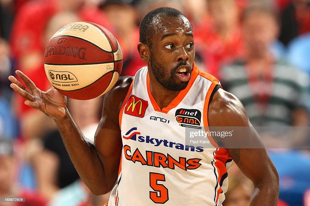 Jamar Wilson of the Taipans brings the ball up the court during the round 23 NBL match between the Perth Wildcats and the Cairns Taipans at Perth Arena on March 17, 2013 in Perth, Australia.