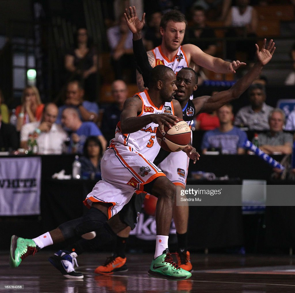 Jamar Wilson of the Titans in action during the round 22 NBL match between the New Zealand Breakers and the Cairns Taipans at North Shore Events Centre on March 7, 2013 in Auckland, New Zealand.