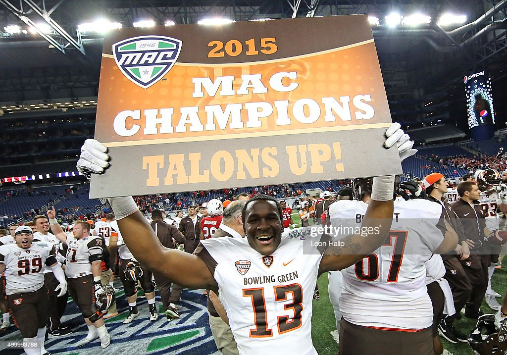 Jamari Bozeman of the Bowling Green Falcons celebrates a win over Northern Illinois Huskies in the MAC Championship on December 4 2015 at Ford Field...