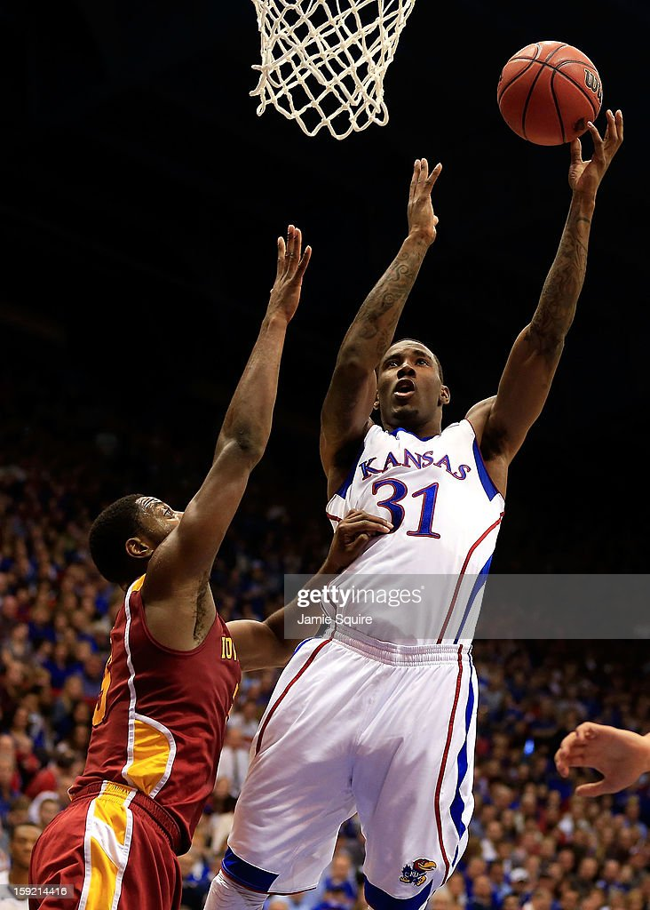 Jamari Traylor #31 of the Kansas Jayhawks shoots during the game against the Iowa State Cyclones at Allen Fieldhouse on January 9, 2013 in Lawrence, Kansas.