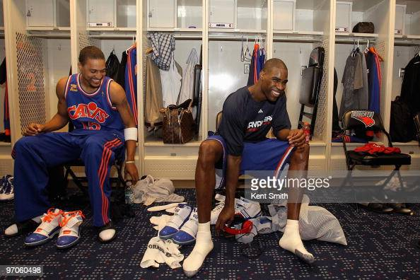 Jamario Moon and Antawn Jamison of the Cleveland Cavaliers laugh in the locker room before the game against the Charlotte Bobcats on February 19 2010...