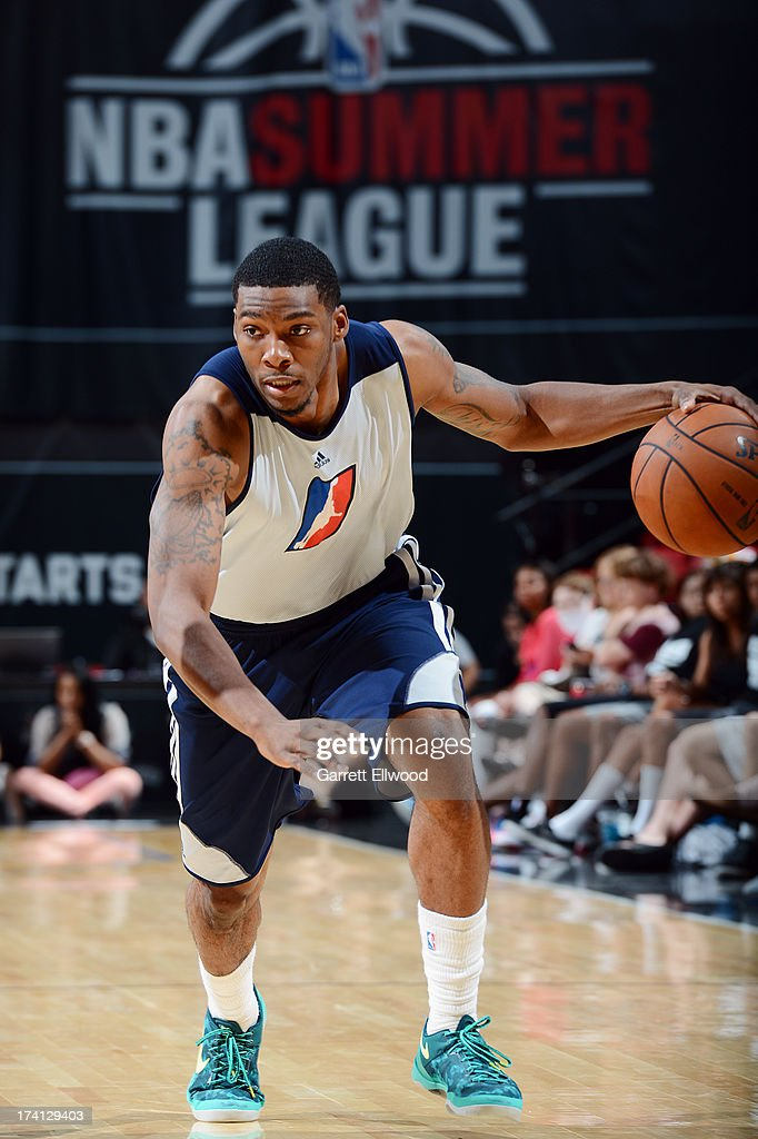 Jamarr Sanders #3 of the D-League Select Team brings the ball up court during NBA Summer League game between the Charlotte Bobcats and the D-League Select Team on July 20, 2013 at the Cox Pavilion in Las Vegas, Nevada.