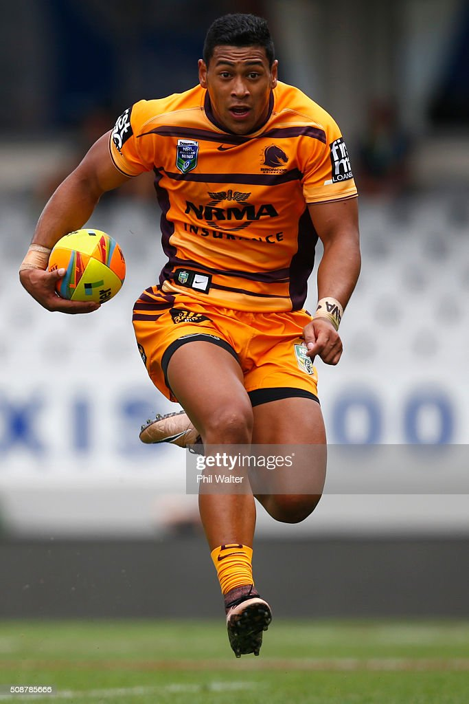 Jamayne Isaako of the Broncos during the 2016 Auckland Nines match between the New Zealand Warriors and the Brisbane Broncos at Eden Park on February 7, 2016 in Auckland, New Zealand.