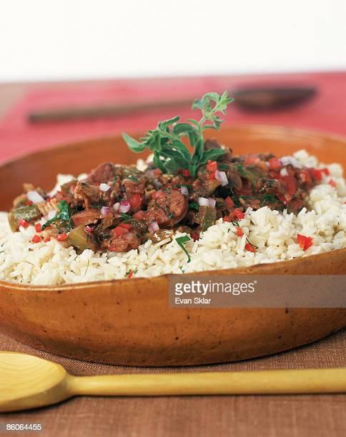 Jambalaya and rice in bowl