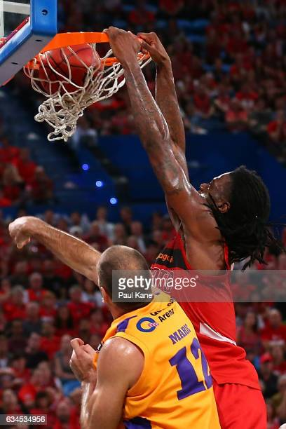 Jameel McKay of the Wildcats dunks the ball during the round 19 NBL match between the Perth Wildcats and the Sydney Kings at Perth Arena on February...