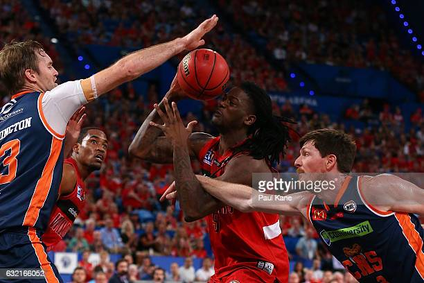 Jameel McKay of the Wildcats gets fouled going to the basket during the round 16 NBL match between the Perth Wildcats and the Cairns Taipans at Perth...