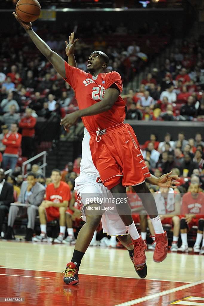 Jameel Warney #20 of the Stony Brook Seawolves drives to the basket during a college basketball game against the Maryland Terrapins on December 21, 2012 at the Comcast Center in College Park, Maryland.