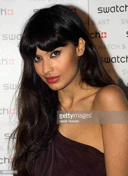 Jameela Jamil arrives for the Swatch Art Collection launch party at London Bridge on May 6 2010 in London England