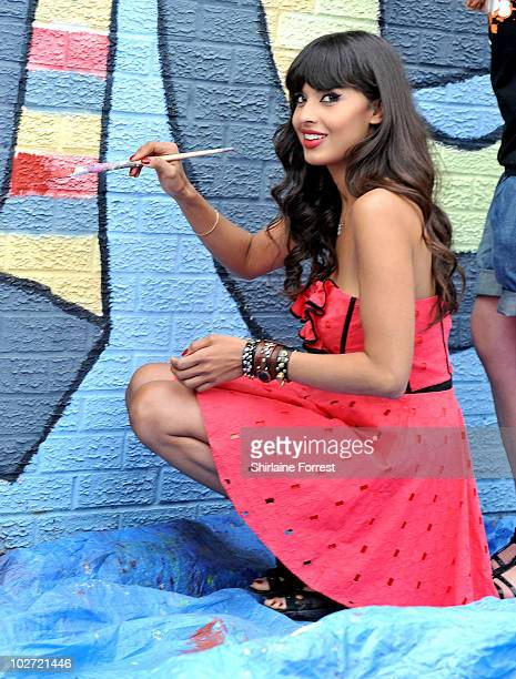 Jameela Jamil attends regeneration project for Orange RockCorps at Ordsall Community Centre on July 8 2010 in Salford Manchester England