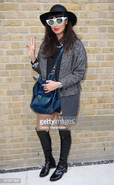 Jameela Jamil attends the front row for the Zoe Jordan show on day 1 of London Fashion Week Spring/Summer 2013 at Mercer Street Studios on September...