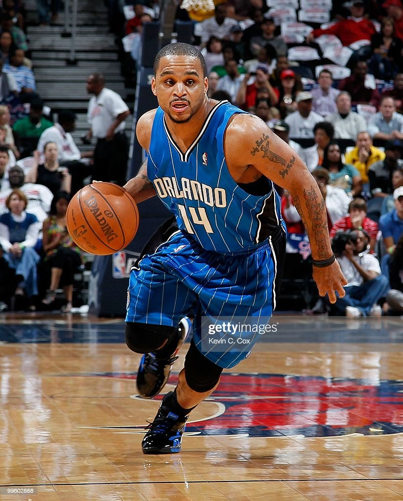 Jameer Nelson #14 of the Orlando Magic against the Atlanta Hawks during Game Four of the Eastern Conference Semifinals of the 2010 NBA Playoffs at Philips Arena on May 10, 2010 in Atlanta, Georgia.