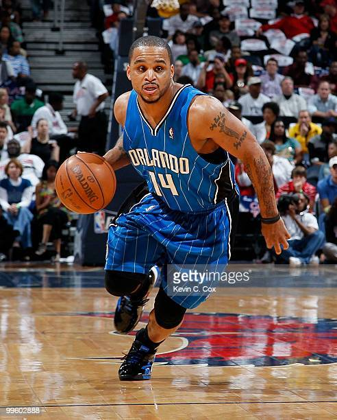 Jameer Nelson of the Orlando Magic against the Atlanta Hawks during Game Four of the Eastern Conference Semifinals of the 2010 NBA Playoffs at...