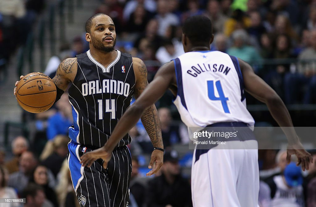 <a gi-track='captionPersonalityLinkClicked' href=/galleries/search?phrase=Jameer+Nelson&family=editorial&specificpeople=202057 ng-click='$event.stopPropagation()'>Jameer Nelson</a> #14 of the Orlando Magic at American Airlines Center on February 20, 2013 in Dallas, Texas.