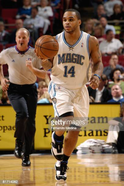 Jameer Nelson of the Orlando Magic brings the ball upcourt against the Minnesota Timberwolves during the game on April 11 2008 at Amway Arena in...