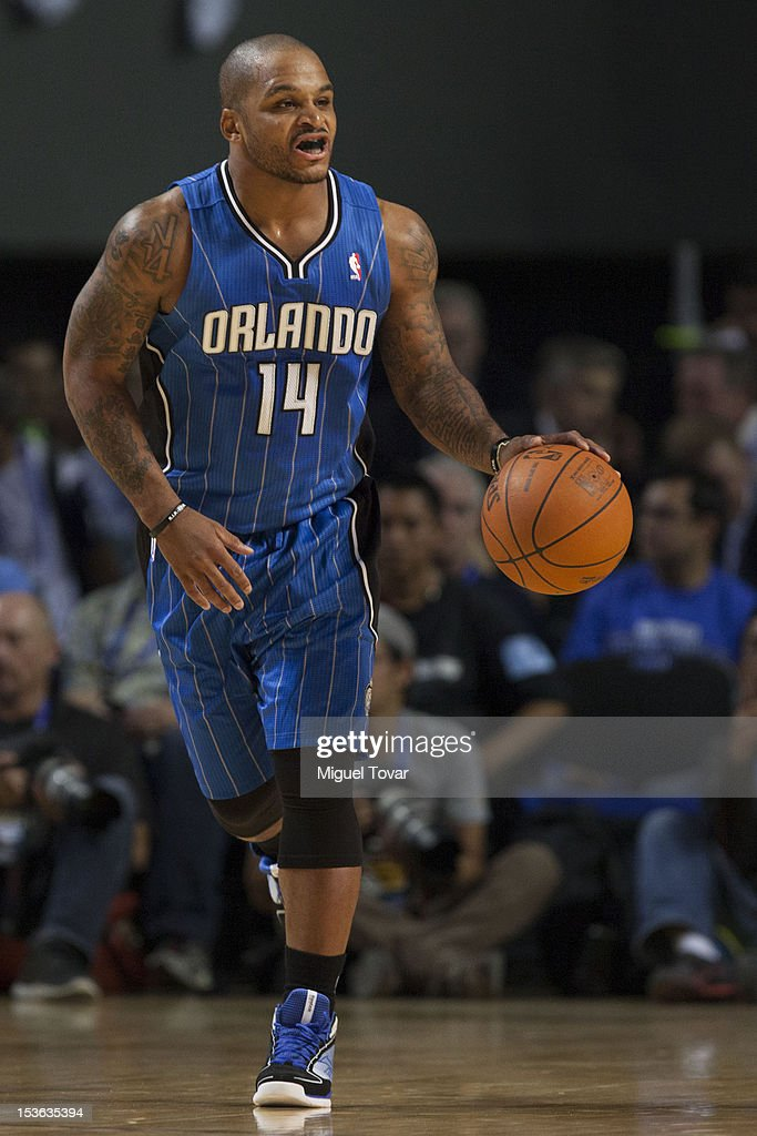 <a gi-track='captionPersonalityLinkClicked' href=/galleries/search?phrase=Jameer+Nelson&family=editorial&specificpeople=202057 ng-click='$event.stopPropagation()'>Jameer Nelson</a> #14 of the Orlando Magic drives the ball during the game between the Orlando Magic and the New Orleans Hornets on October 7, 2012 at Mexico City Arena in Mexico City.