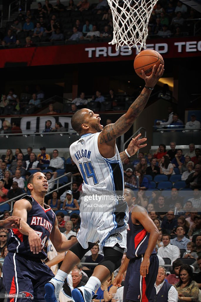 Jameer Nelson #14 of the Orlando Magic drives to the basket against the Atlanta Hawks on December 12, 2012 at Amway Center in Orlando, Florida.