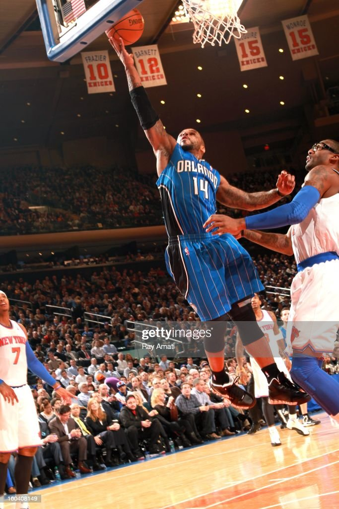 Jameer Nelson #14 of the Orlando Magic goes to the basket during the game between the New York Knicks and the Orlando Magic on January 30, 2013 at Madison Square Garden in New York City .