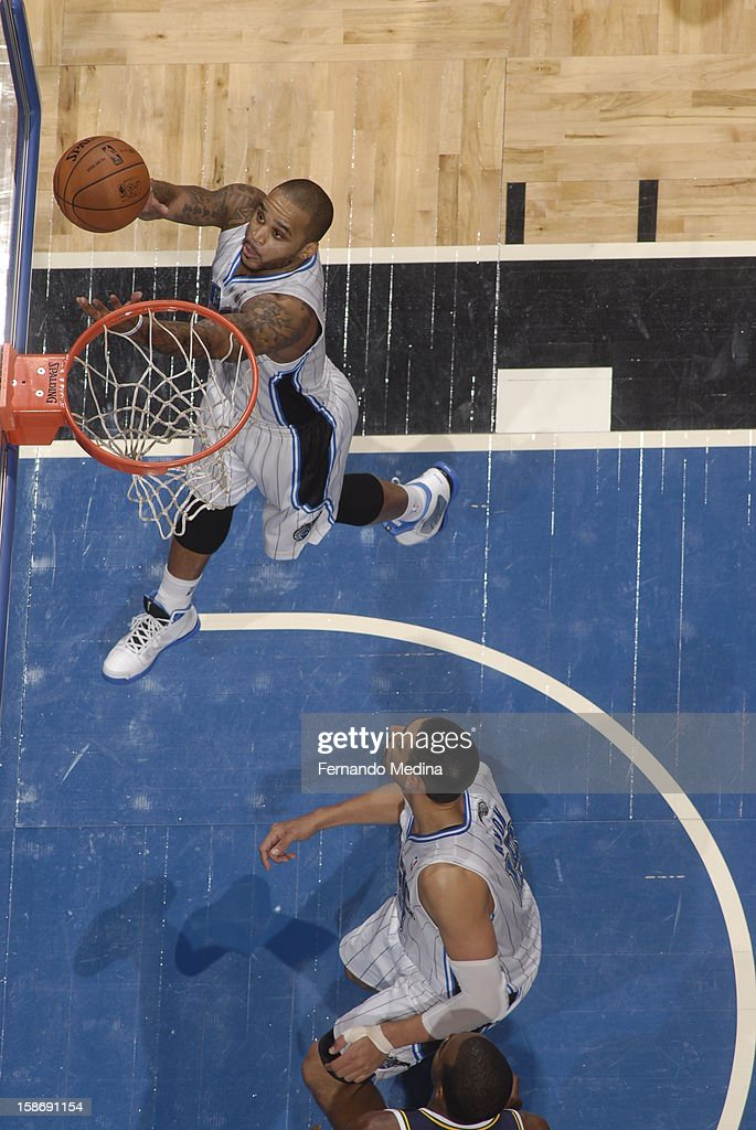 <a gi-track='captionPersonalityLinkClicked' href=/galleries/search?phrase=Jameer+Nelson&family=editorial&specificpeople=202057 ng-click='$event.stopPropagation()'>Jameer Nelson</a> #14 of the Orlando Magic goes up for a layup against the Utah Jazz during the game on December 23, 2012 at Amway Center in Orlando, Florida.