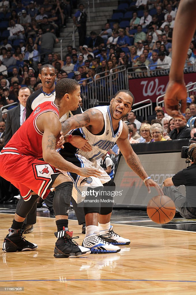 <a gi-track='captionPersonalityLinkClicked' href=/galleries/search?phrase=Jameer+Nelson&family=editorial&specificpeople=202057 ng-click='$event.stopPropagation()'>Jameer Nelson</a> #14 of the Orlando Magic in action against <a gi-track='captionPersonalityLinkClicked' href=/galleries/search?phrase=Derrick+Rose&family=editorial&specificpeople=4212732 ng-click='$event.stopPropagation()'>Derrick Rose</a> #1 of the Chicago Bulls on April 10, 2011 at the Amway Center in Orlando, Florida.