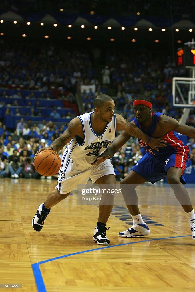 Jameer Nelson #14 of the Orlando Magic moves the ball against Ronald Murray #6 of the Detroit Pistons in Game Three of the Eastern Conference Quarterfinals during the 2007 NBA Playoffs at Amway Arena on April 26, 2007 in Orlando, Florida. The Pistons won 93-77.