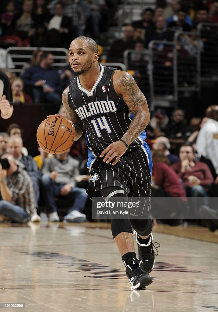 <a gi-track='captionPersonalityLinkClicked' href=/galleries/search?phrase=Jameer+Nelson&family=editorial&specificpeople=202057 ng-click='$event.stopPropagation()'>Jameer Nelson</a> #14 of the Orlando Magic pushes the ball up the court against the Cleveland Cavaliers at The Quicken Loans Arena on February 8, 2013 in Cleveland, Ohio.