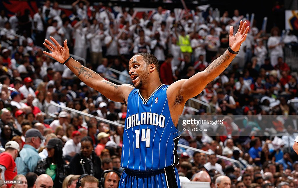 <a gi-track='captionPersonalityLinkClicked' href=/galleries/search?phrase=Jameer+Nelson&family=editorial&specificpeople=202057 ng-click='$event.stopPropagation()'>Jameer Nelson</a> #14 of the Orlando Magic reacts after being called for a foul against the Atlanta Hawks during Game Four of the Eastern Conference Semifinals of the 2010 NBA Playoffs at Philips Arena on May 10, 2010 in Atlanta, Georgia.