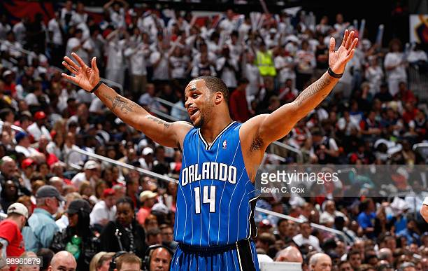 Jameer Nelson of the Orlando Magic reacts after being called for a foul against the Atlanta Hawks during Game Four of the Eastern Conference...