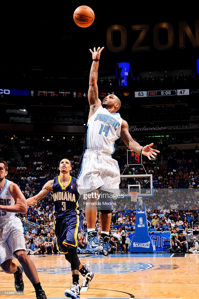 <a gi-track='captionPersonalityLinkClicked' href=/galleries/search?phrase=Jameer+Nelson&family=editorial&specificpeople=202057 ng-click='$event.stopPropagation()'>Jameer Nelson</a> #14 of the Orlando Magic shoots a floater against the Indiana Pacers in Game Four of the Eastern Conference Quarterfinals during the 2012 NBA Playoffs on May 5, 2012 at Amway Center in Orlando, Florida.