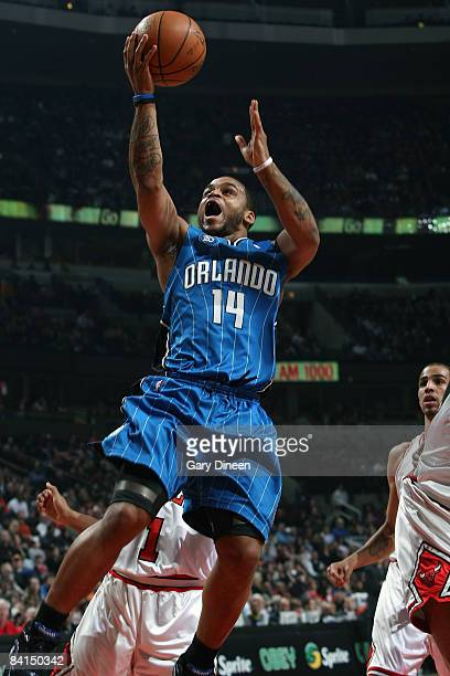 Jameer Nelson of the Orlando Magic shoots a layup against the Chicago Bulls at the United Center December 31 2008 in Chicago Illinois NOTE TO USER...