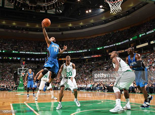 Jameer Nelson of the Orlando Magic shoots against Ray Allen of the Boston Celtics in Game Three of the Eastern Conference Finals during the 2010 NBA...