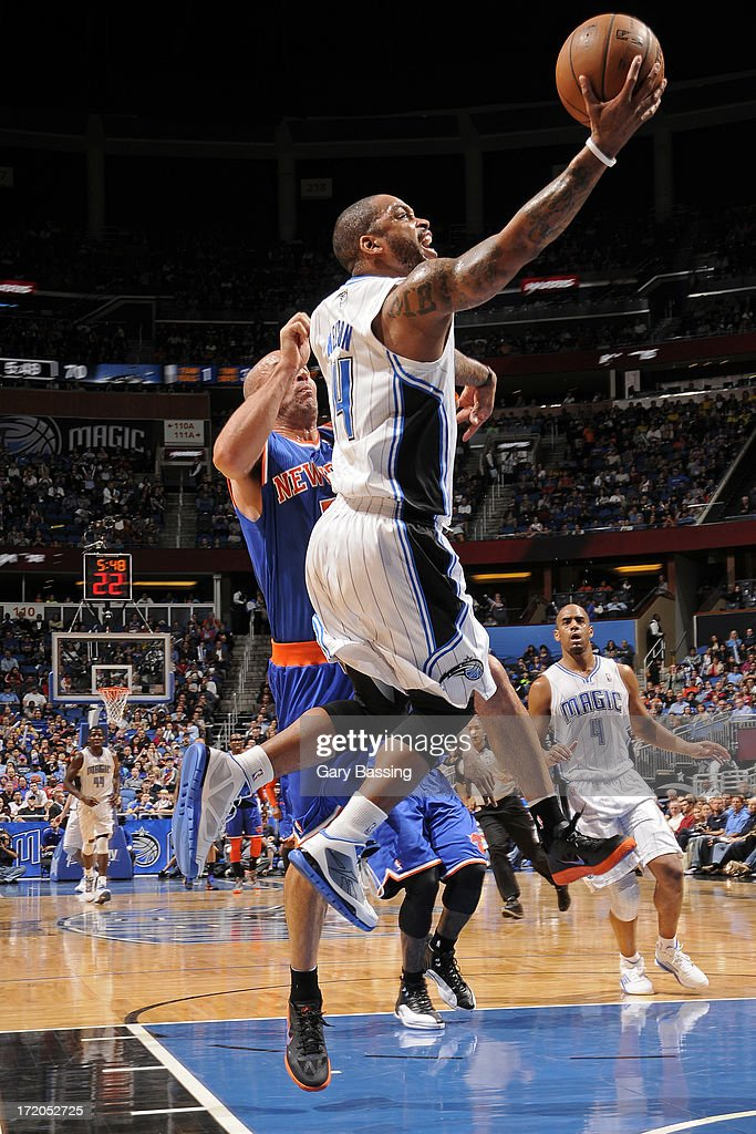 <a gi-track='captionPersonalityLinkClicked' href=/galleries/search?phrase=Jameer+Nelson&family=editorial&specificpeople=202057 ng-click='$event.stopPropagation()'>Jameer Nelson</a> #14 of the Orlando Magic shoots while defended by <a gi-track='captionPersonalityLinkClicked' href=/galleries/search?phrase=Jason+Kidd&family=editorial&specificpeople=201560 ng-click='$event.stopPropagation()'>Jason Kidd</a> # 5 of the New York Knicks during the game on January 5, 2013 at Amway Center in Orlando, Florida.