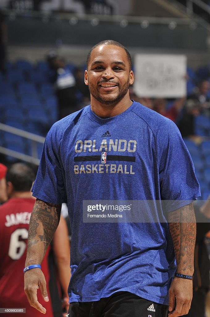 Jameer Nelson #14 of the Orlando Magic smiles prior to the game against the Miami Heat during the game on November 20, 2013 at Amway Center in Orlando, Florida.