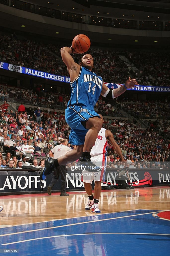 Jameer Nelson #14 of the Orlando Magic takes the ball to the basket against the Detroit Pistons in Game One of the Eastern Conference Quarterfinals during the 2007 NBA Playoffs at The Palace of Auburn Hills on April 21, 2007 in Auburn Hills, Michigan. The Pistons won 100-92.