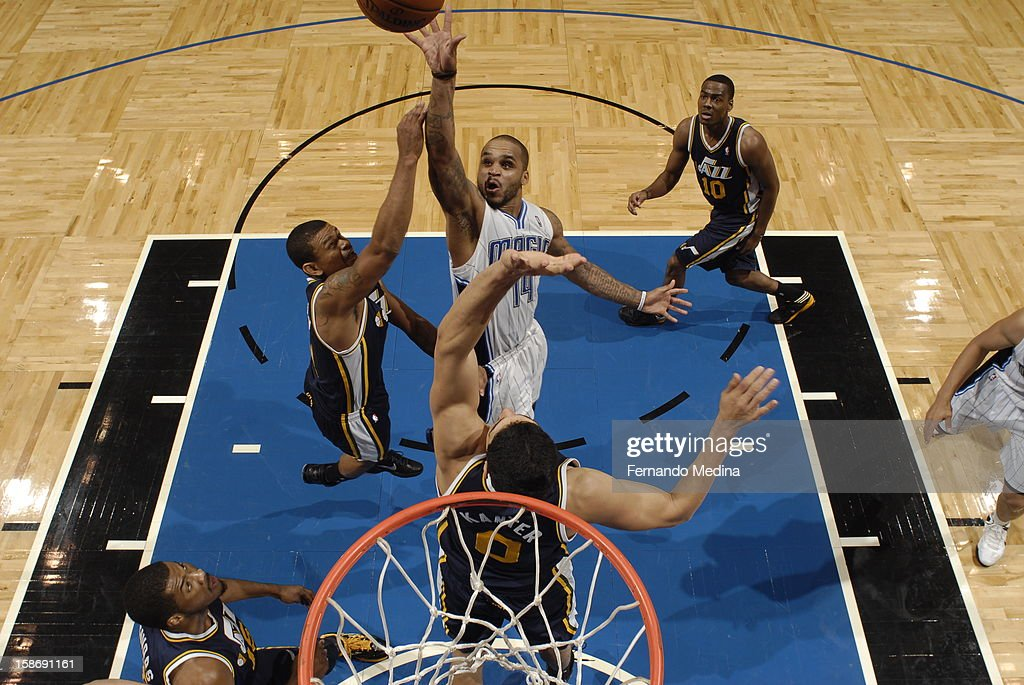 <a gi-track='captionPersonalityLinkClicked' href=/galleries/search?phrase=Jameer+Nelson&family=editorial&specificpeople=202057 ng-click='$event.stopPropagation()'>Jameer Nelson</a> #14 of the Orlando Magic throws a floater up against the Utah Jazz during the game on December 23, 2012 at Amway Center in Orlando, Florida.