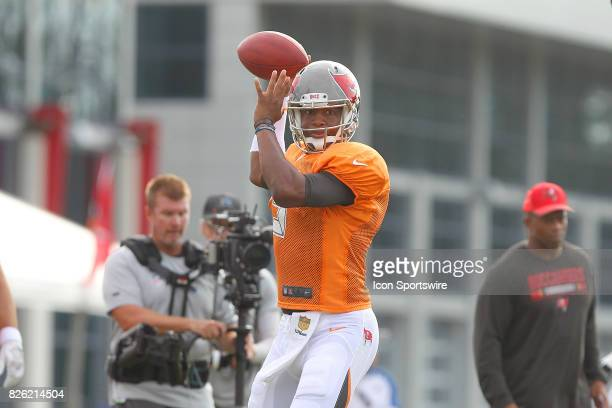 Jameis Winston looks to complete the pass into the flats under the watchful eyes of HBO's Hard Knocks cameramen ans staff during the Tampa Bay...