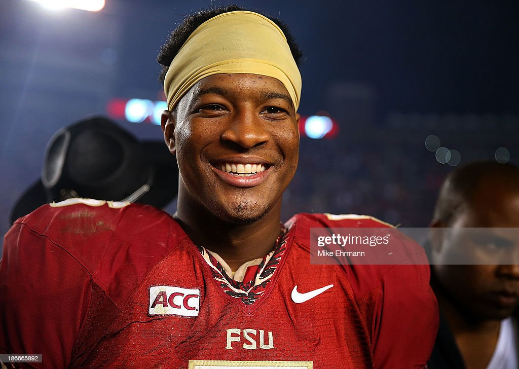 <a gi-track='captionPersonalityLinkClicked' href=/galleries/search?phrase=Jameis+Winston&family=editorial&specificpeople=8772860 ng-click='$event.stopPropagation()'>Jameis Winston</a> #5 of the Florida State Seminoles looks on during a game against the Miami Hurricanes at Doak Campbell Stadium on November 2, 2013 in Tallahassee, Florida.