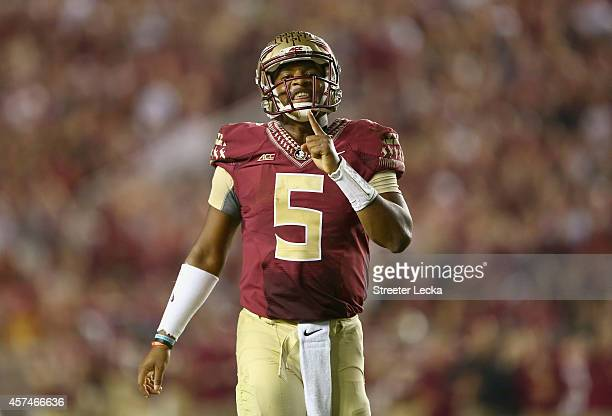 Jameis Winston of the Florida State Seminoles reacts after a play against the Notre Dame Fighting Irish during their game at Doak Campbell Stadium on...