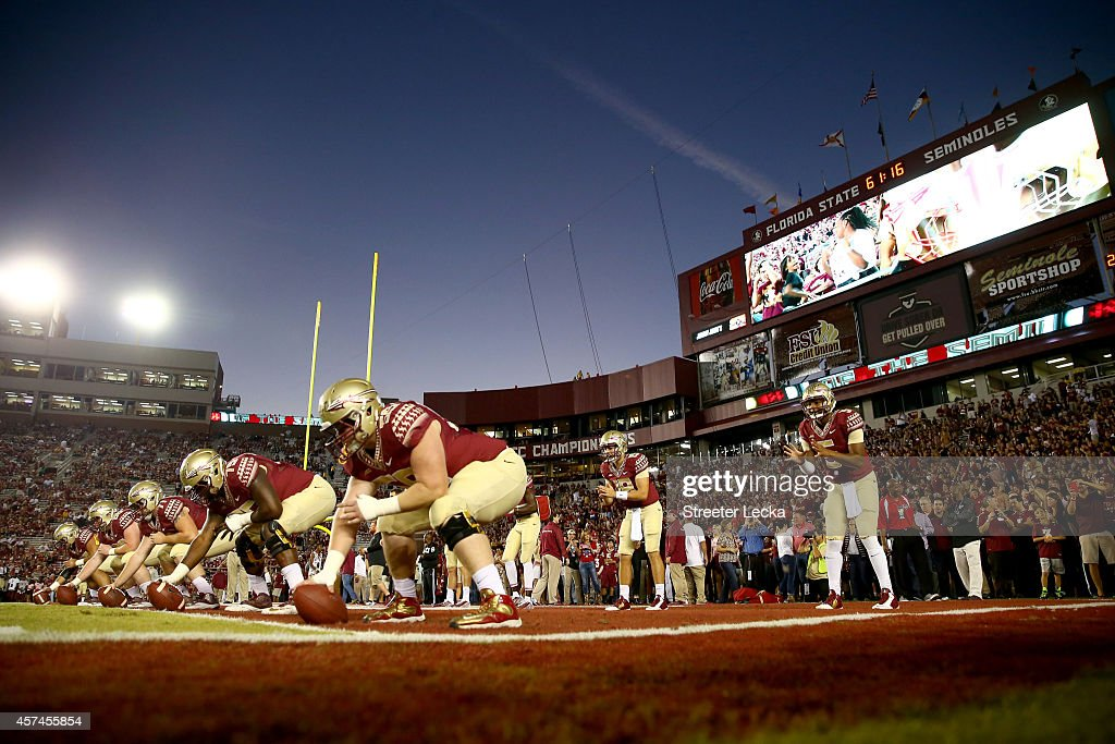 Jameis Winston #5 of the Florida State Seminoles warms up before their game against the Notre Dame Fighting Irish at Doak Campbell Stadium on October 18, 2014 in Tallahassee, Florida.