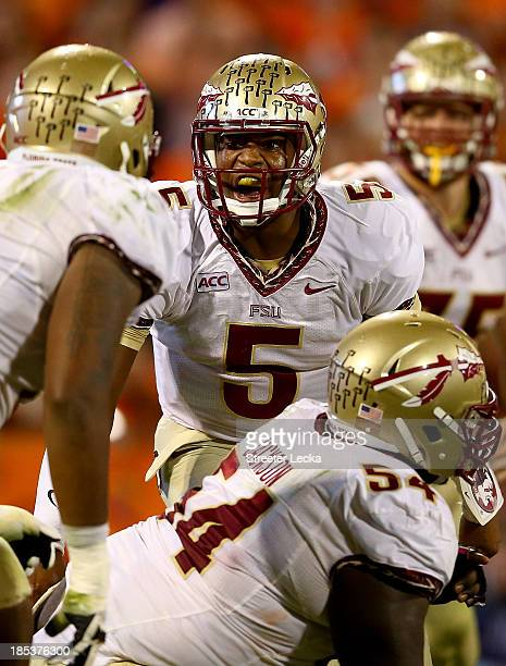 Jameis Winston of the Florida State Seminoles yells to his team on the line before a play against the Clemson Tigers at Memorial Stadium on October...