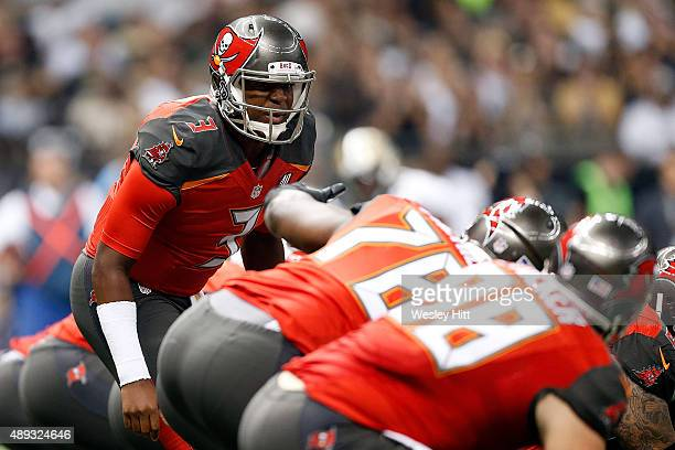 Jameis Winston of the Tampa Bay Buccaneers calls a play at the line during the first quarter of a game against the New Orleans Saints at the...
