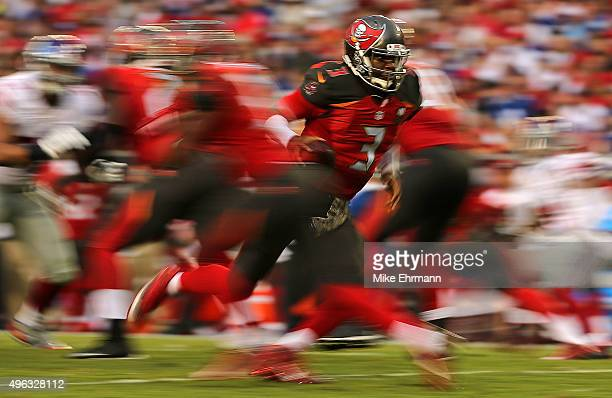 Jameis Winston of the Tampa Bay Buccaneers drops back during a game against the New York Giants at Raymond James Stadium on November 8 2015 in Tampa...