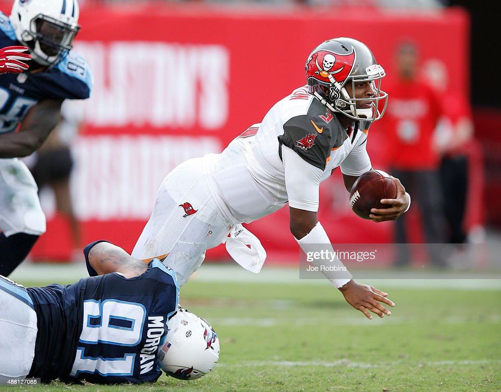 Jameis Winston #3 of the Tampa Bay Buccaneers gets sacked by Derrick Morgan #91 of the Tennessee Titans in the second half at Raymond James Stadium on September 13, 2015 in Tampa, Florida. The Titans defeated the Bucs 42-14.