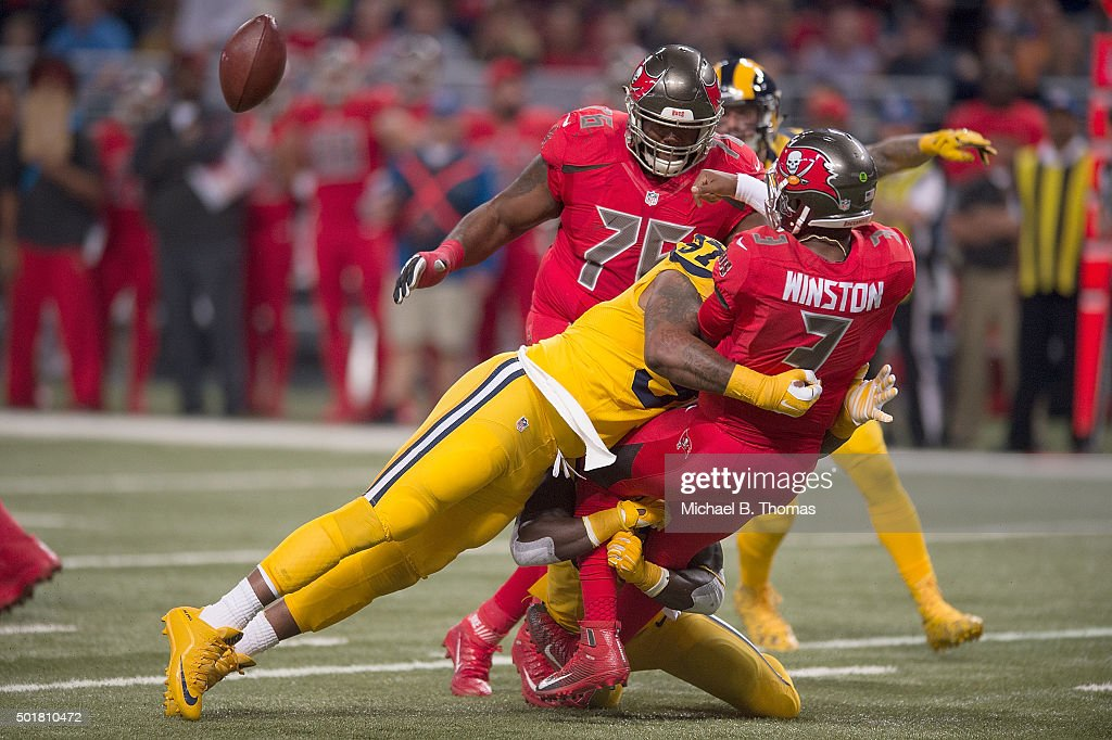 6a21e69a6 Jameis Winston 3 of the Tampa Bay Buccaneers is sacked by Eugene Sims 97 ...