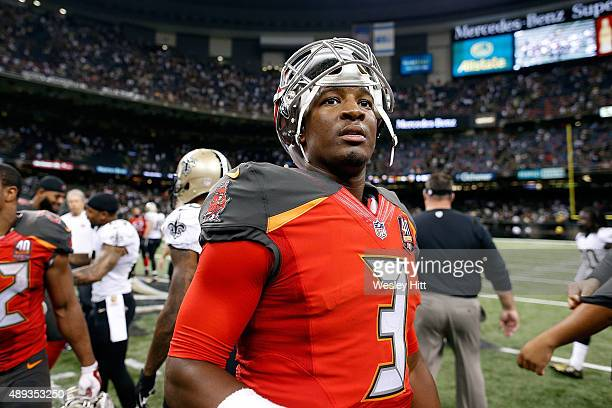 Jameis Winston of the Tampa Bay Buccaneers leaves the field following a victory over the New Orleans Saints at the MercedesBenz Superdome on...