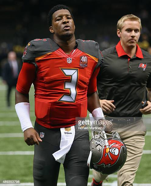 Jameis Winston of the Tampa Bay Buccaneers runs off the field after a 2619 win against the New Orleans Saints at MercedesBenz Superdome on September...