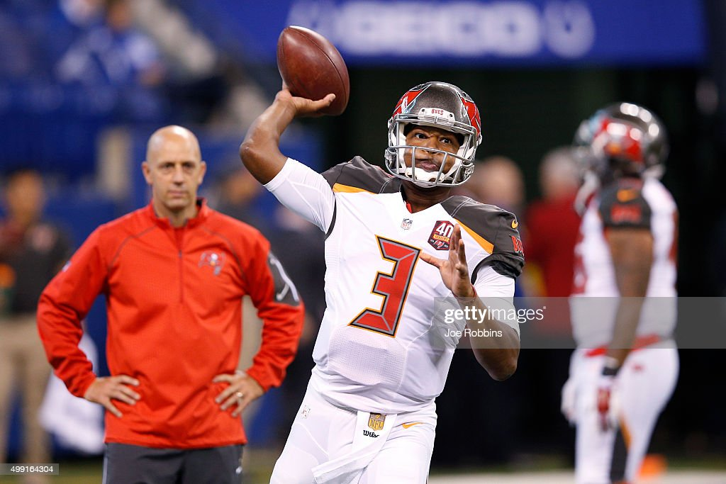 Jameis Winston #3 of the Tampa Bay Buccaneers warms up before the game against the Indianapolis Colts at Lucas Oil Stadium on November 29, 2015 in Indianapolis, Indiana.